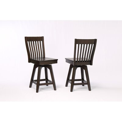 Yvonne Slat Back Wood Dining Chair (Set of 2) Color: Black Oak