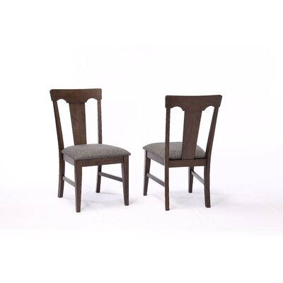 Yvonne Panel Back Dining Chair (Set of 2) Color: Black Oak