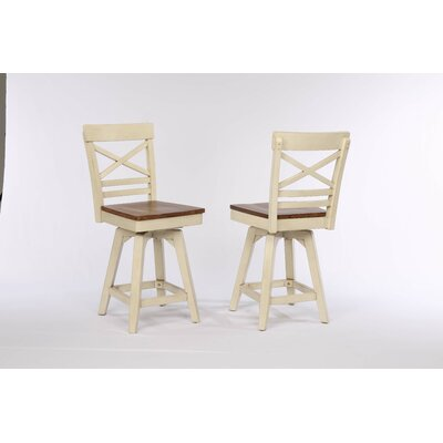 Yvonne X Back 2 Tone Swivel Bar Stool (Set of 2) Color: Antique White