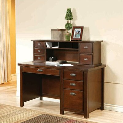 Tribeca Loft Single Pedestal Computer Desk with Short Reception Hutch Product Photo 2416