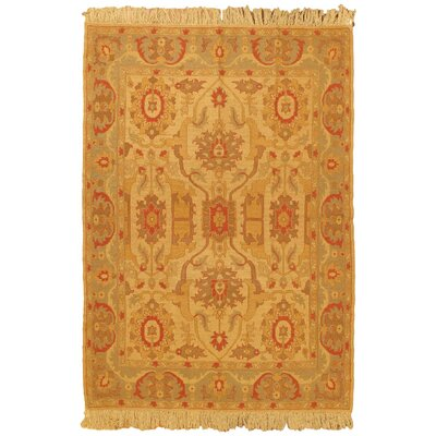 Chobi Light Yellow Open Field Area Rug