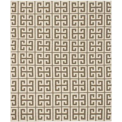 Kerala Cream/Khaki Geometric Rug Rug Size: 8 x 10