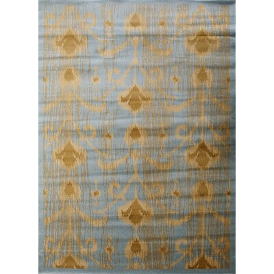 Ikat Light Blue/Gold Abstract Area Rug Rug Size: 55 x 78