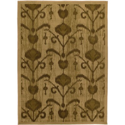 Ikat Vine Light Brown Abstract Area Rug Rug Size: 55 x 78