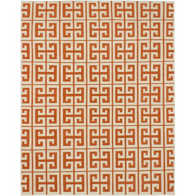 Kerala Cream/Dark Orange Geometric Rug Rug Size: 8' x 10'