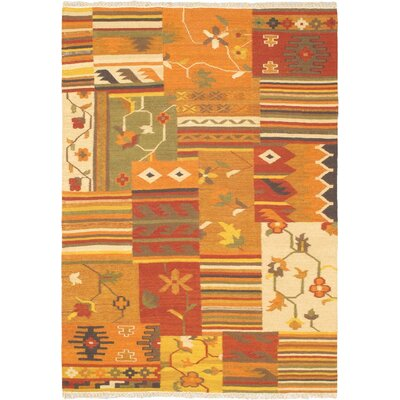 Hereke Orange Patchwork Area Rug