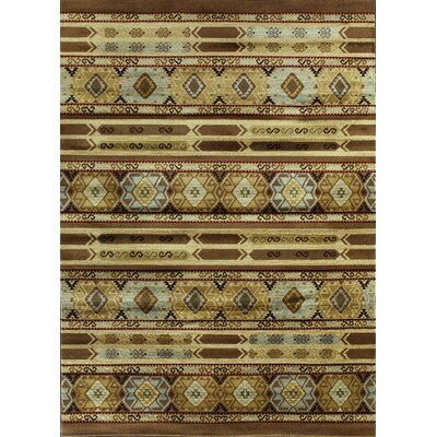 Ikat Brown/Cream Abstract Area Rug Rug Size: 55 x 78