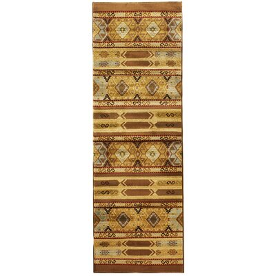Ikat Brown/Cream Abstract Area Rug Rug Size: Runner 28 x 78