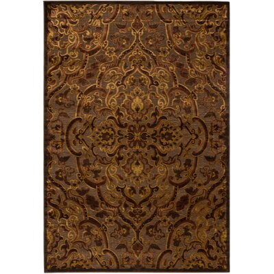 Hafez Dark Gray/Light Brown Medallion Area Rug