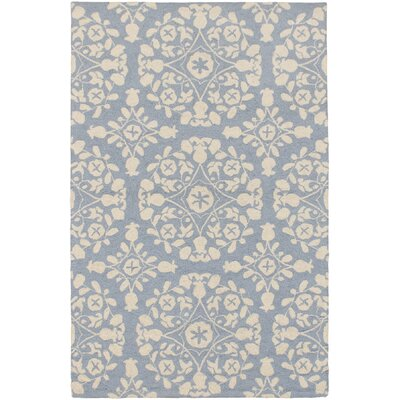 Samarkand Cream/Pale Dull Blue Abstract Area Rug Rug Size: 36 x 56