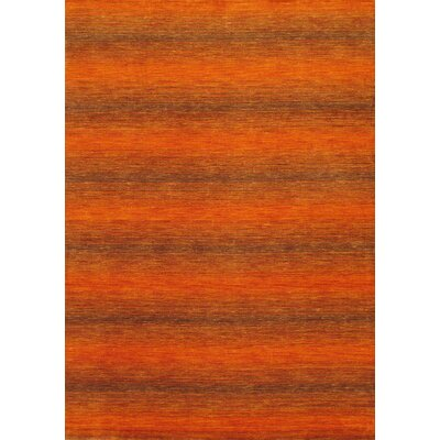 Luribaft Gabbeh Riz Orange Abstract Area Rug