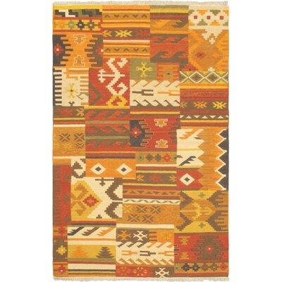 Hereke Orange/Red Patchwork Area Rug Rug Size: 51 x 8