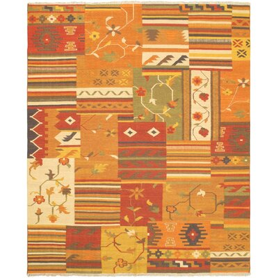 Hereke Orange/Red Patchwork Area Rug
