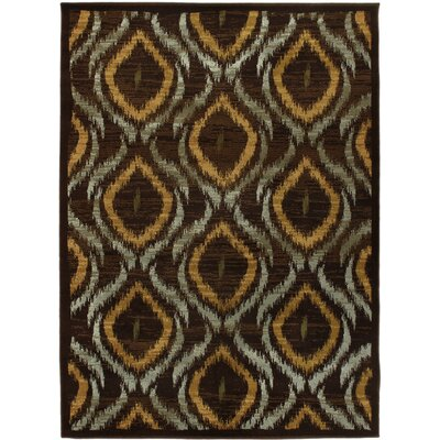 Ikat Dark Brown Abstract Area Rug