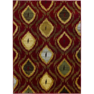 Ikat Red Abstract Area Rug