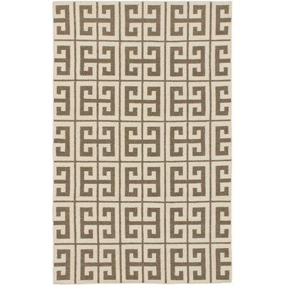 Kerala Cream/Khaki Geometric Rug Rug Size: 5 x 8