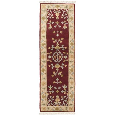 One-of-a-Kind Aurora Open Field Dark Red Area Rug