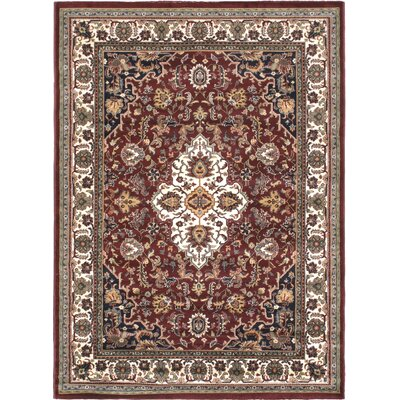 Burgundy/Cream Medallion Floral Area Rug