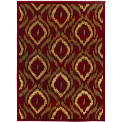 Ikat Red/Brown Abstract Area Rug Rug Size: 55 x 78