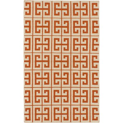 Kerala Cream/Dark Orange Geometric Rug Rug Size: 5 x 8