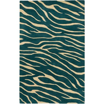 Trek Animal Prints Hand Tufted Obscure Dull Teal Area Rug