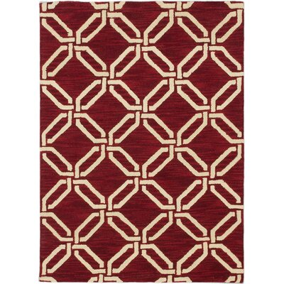 Trellis Transitional Hand Tufted Red Area Rug