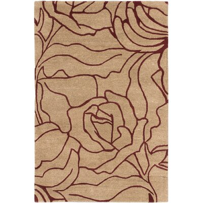 Flora Casual Hand Tufted Beige Area Rug Rug Size: 4 x 6