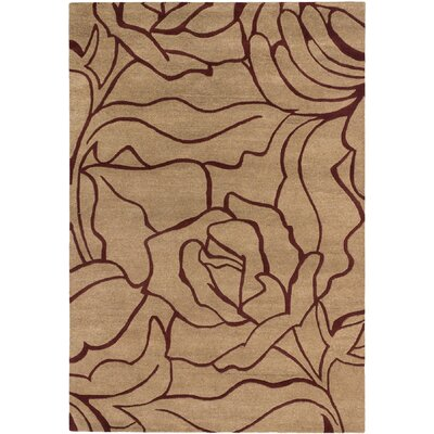 Flora Casual Hand Tufted Beige Area Rug Rug Size: 6 x 9