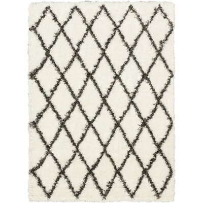 Labrador Diamante Black Shag Area Rug Rug Size: Rectangle 53 x 73