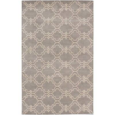 Trellis Transitional Hand Tufted Gray Area Rug Rug Size: 5 x 8