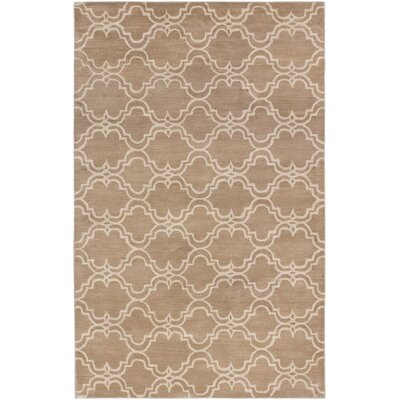 Trellis Transitional Hand Tufted Khaki Area Rug Rug Size: 5 x 8