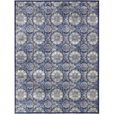 Rosalyn Transitional Dark Navy Area Rug Rug Size: 710 x 102