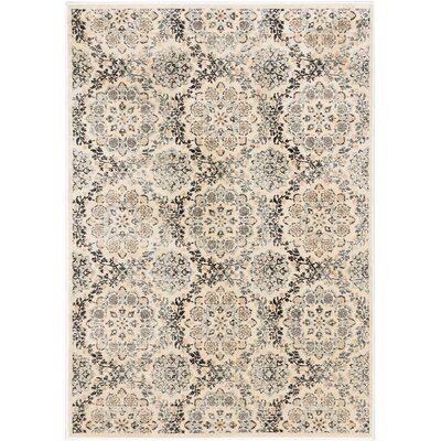 Rosalyn Transitional Beige Area Rug Rug Size: 53 x 73