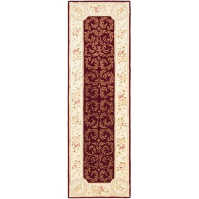 Savonnerie Traditional Hand Tufted Dark Red Area Rug Rug Size: Runner 26 x 8