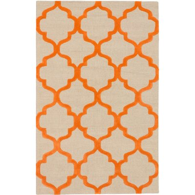 Trellis Casual Hand Tufted Orange Area Rug