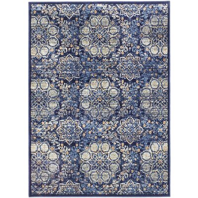 Rosalyn Transitional Dark Navy Area Rug