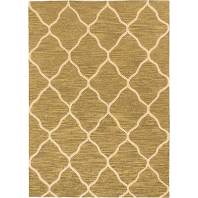 Trellis Transitional Hand Tufted Dark Dull Yellow Area Rug