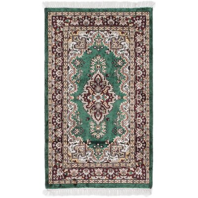 Kashmir Hand-Knotted Green Area Rug
