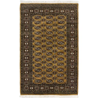 Peshawar Bokhara Hand-Knotted Dark Dull Yellow Area Rug