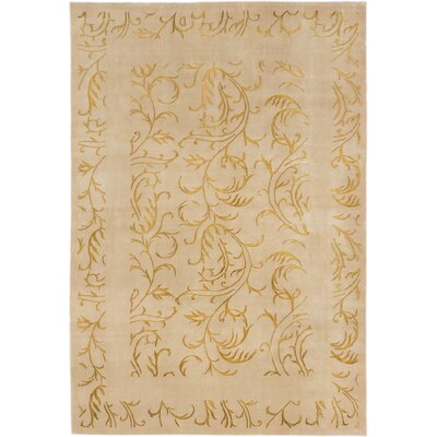 Silk Touch Hand-Knotted Khaki Area Rug