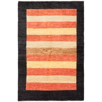 Peshawar Ziegler Hand-Knotted Black Area Rug