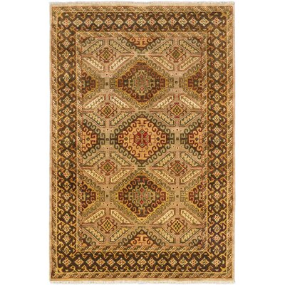 Ikat Royale Hand-Knotted Dark Brown Area Rug