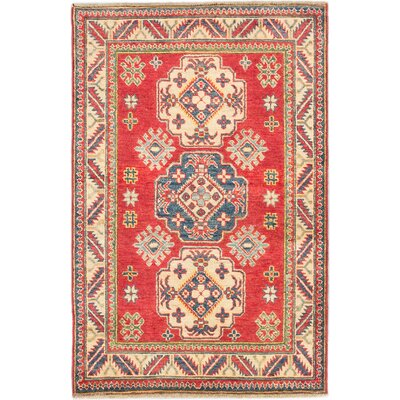 One-of-a-Kind Finest Gazni Hand-Knotted Red Area Rug Rug Size: 34 x 5