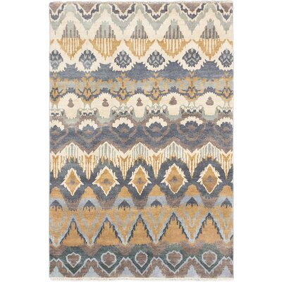 Ikat Royale Hand-Knotted Cream Area Rug