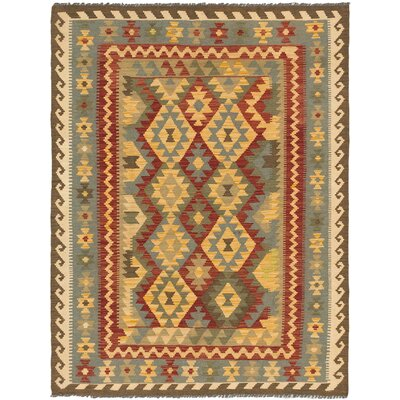 Anatolian Kilim Dark Red/Light Gold Area Rug