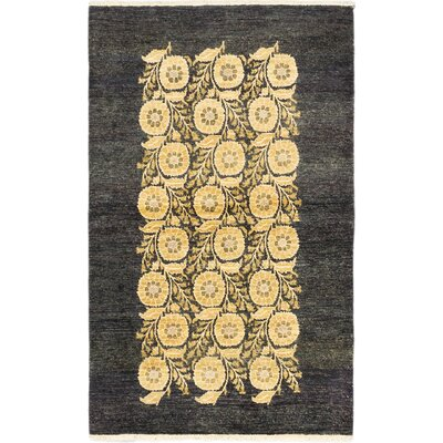 Peshawar Ziegler Hand-Knotted Black/Yellow Area Rug Rug Size: 4 x 65