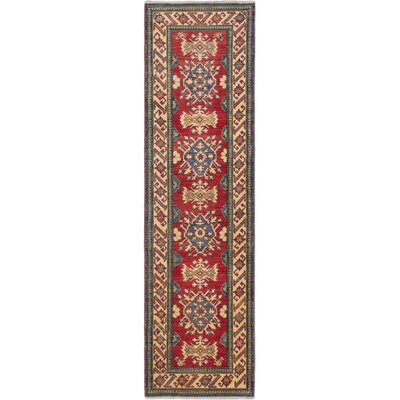 Finest Gazni Hand-Knotted Dark Red Area Rug