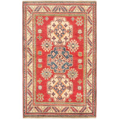 Finest Gazni Hand-Knotted Red Area Rug Rug Size: 34 x 53