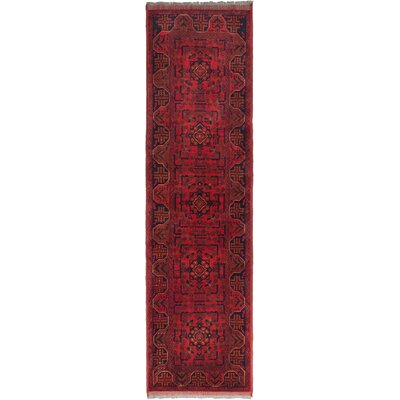 Finest Khal Mohammadi Hand-Knotted Dark Red Area Rug Rug Size: Runner 28 x 95