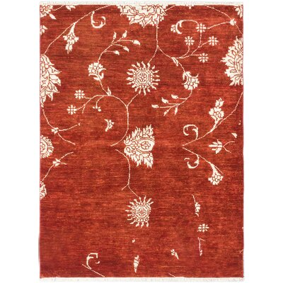 One-of-a-Kind Biddlesden Wool Hand-Knotted Dark Orange-Red Area Rug